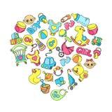 De pasgeboren zuigeling als thema had leuke krabbelreeks Babyzorg, het voeden, kleding, speelgoed, gezondheidszorgmateriaal, veil royalty-vrije illustratie