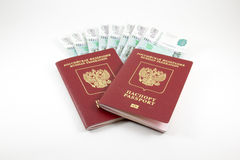 De paspoorten van de Russische Federatie en het geld Stock Fotografie