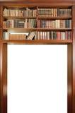 De passage van het bibliotheekboekenrek op witte achtergrond wordt geïsoleerd die Stock Afbeelding