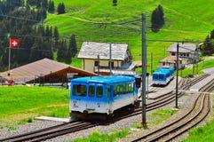 De passagierstreinen komt aan de post van Rigi aan Staffel Royalty-vrije Stock Afbeelding