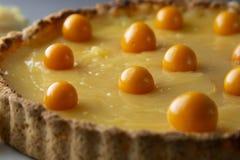 De pastei van de citroengestremde melk Eigengemaakte heerlijke pastei, scherp gevuld met citroengestremde melk Zoet dessert De pa stock fotografie