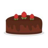 De pastei van de de verjaardagscake van de chocoladeroom isoleerde vector het dessert zoete korst gebakken eigengemaakte verse sc royalty-vrije illustratie