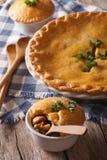 De pastei van de kippenpot met groentenclose-up verticaal Stock Foto's