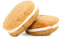 De Pastei van Whoopie van de Boon van de vanille op Wit Stock Foto