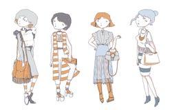 De pastelkleur kleurde geïsoleerd manier jong die meisje in vrijetijdskleding, hand, op witte achtergrond wordt getrokken Permane Stock Afbeeldingen