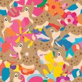 De pastelkleur naadloos patroon van de hertenbloem royalty-vrije illustratie