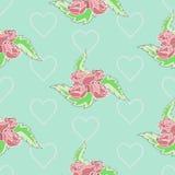De pastelkleur van het rozenpatroon Royalty-vrije Illustratie