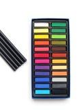 De pastelkleuren van de kunst, houtskoolpotloden Stock Afbeeldingen