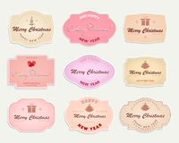 De pastelkleuren van het Kerstmisetiket, reeks Royalty-vrije Stock Afbeeldingen