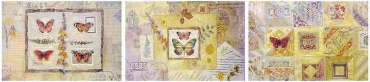 De pastelkleurenachtergrond van vlindersbloemen Stock Afbeelding