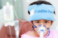 De patiënt van de jongen in het ziekenhuis Stock Foto's