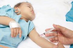 De patiënt van de jongen in het ziekenhuis Royalty-vrije Stock Foto