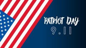 De patriot dag de V.S. vergeet nooit 9 11 Patriotdag, 11 September, zullen wij nooit vergeten Stock Illustratie