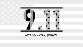 De patriot dag de V.S. vergeet nooit 9 11 Patriotdag, 11 September, zullen wij nooit vergeten royalty-vrije illustratie