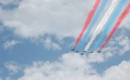 De patriottische Vorming van Zes Vliegtuig Royalty-vrije Stock Foto's