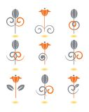 De patronen van de bloem die op wit worden geïsoleerdn Royalty-vrije Stock Afbeelding