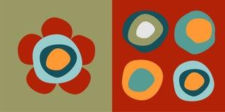 De patronen van de bloem en van cirkels stock illustratie