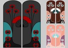 De patronen van de Jugendstil in Japanse stijl Stock Foto's