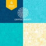 De Patronen van lijncryptocurrency Royalty-vrije Stock Foto's