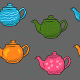 De patroon gekleurde Krabbel van de beeldverhaaltheepot Royalty-vrije Stock Afbeeldingen