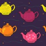 De patroon gekleurde Krabbel van de beeldverhaaltheepot Stock Fotografie
