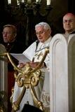 De Paus Benedictus XVI van Rome bezoekSynagoge van Rome Stock Foto's