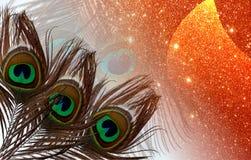 De pauwvaders met abstracte vector multicolored geweven schitteren Achtergrond Vector illustratie stock afbeeldingen