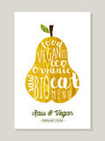 De peer van het ruwe en veganistvoedsel met tekstconceptontwerp Stock Foto's