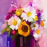 De peinture à l'huile toujours la vie de la fleur blanche, jaune et rouge illustration de vecteur
