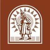 De Pelgrim van Medioeval stock afbeeldingen