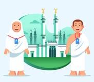 De Pelgrim van paarhajj bij Grote Moskee van Mekka stock illustratie