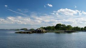 De Pelham öarna i Long Island Sound, NY Arkivfoto