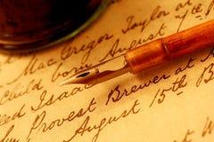 De Pen en de Inktpot van bonen Stock Foto's