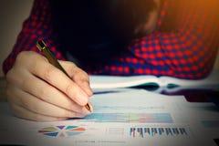 De pen en de spanning van de mensenholding in probleem met uitgaven in bedrijf Stock Fotografie