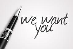 De pen schrijft wij u willen Royalty-vrije Stock Afbeelding