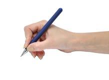 De pen van de de handholding van de vrouw Stock Foto's