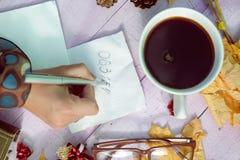 De pen van de handholding en het schrijven op de ruimte van het servetexemplaar Stock Afbeelding