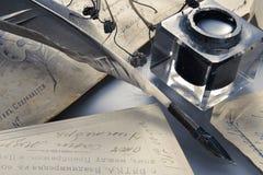 De pen van de inkt en van de veer Stock Afbeelding