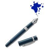 De pen van de inkt en vlekken vectorillustratie Stock Afbeeldingen