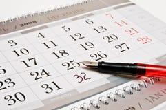 De pen van Foutain, 32 aantallen in kalender Stock Afbeeldingen