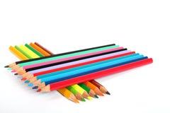 De pennensamenstelling van de kleur op wit Stock Afbeeldingen