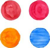 De penseelstreken van de waterverfcirkel Royalty-vrije Stock Afbeeldingen