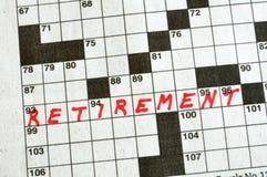 De pensionering van Word op Kruiswoordraadsel Royalty-vrije Stock Afbeeldingen