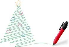De pentekening die van de inkt Vrolijke Kerstboom schrijft royalty-vrije illustratie