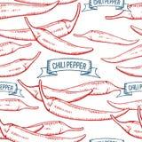 De peper naadloos patroon van Chili Stock Afbeeldingen