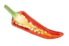 De peper van Chimayochili, gehalveerde peul, hoogste mening stock foto's