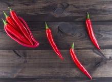 De peper van de Spaanse peper op houten achtergrond Stock Fotografie