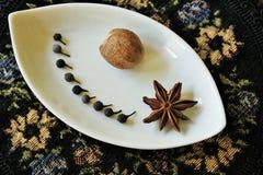 De peper van Java, notemuskaat en steranijsplant op een decoratieve plaat royalty-vrije stock foto
