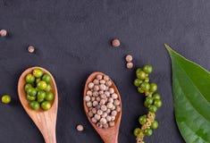 De peperbollen van het zwarte peperkruid op houten lepel en donkere rustieke achtergrond royalty-vrije stock foto's