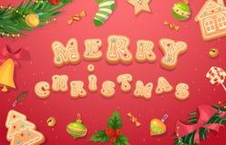 De peperkoekkoekjes van Kerstmis en sweets Stock Foto